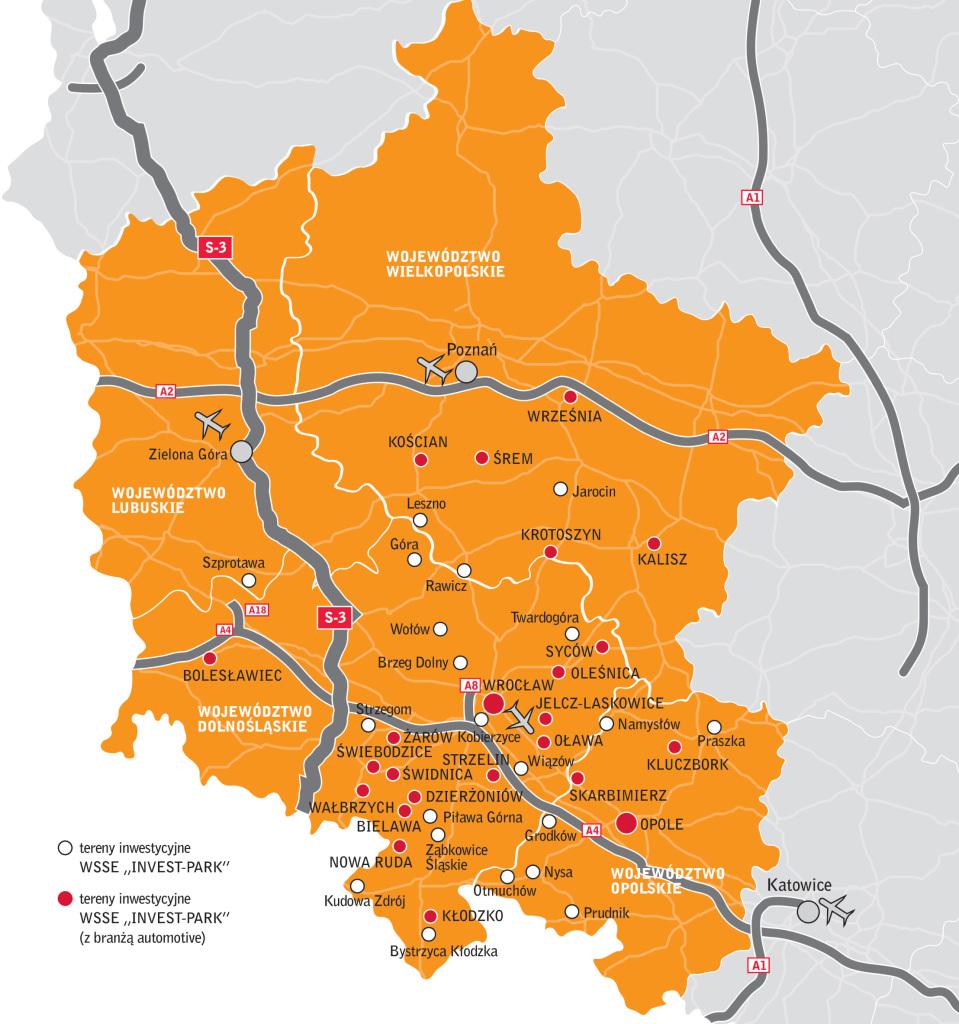 Motoryzacja w WSSE - mapa